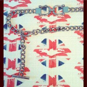Micheal Kors Horse-Bit Silver Chain Belt